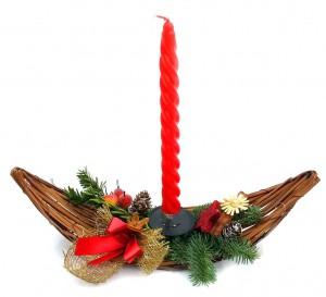 Vánoční svícen, proutěný 2