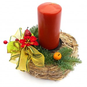 Vánoční svícen, proutěný 1